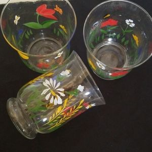 Set of 3 Glass Floral Vases